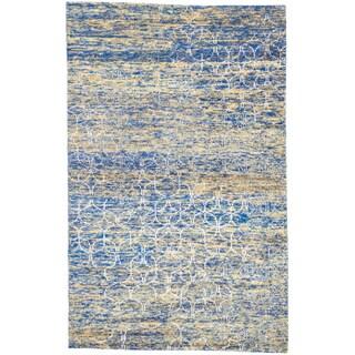 ecarpetgallery Sari Silk Blue, Yellow Sari Silk Rug (5' x 8')