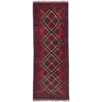 ecarpetgallery Hand-knotted Fine Khal Mohammadi Red Wool Rug (1' x 4')