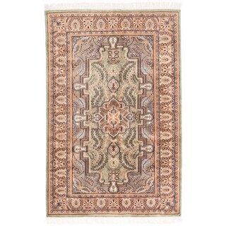 ecarpetgallery Kashmir Kerman Green Wool Rug (4' x 6')