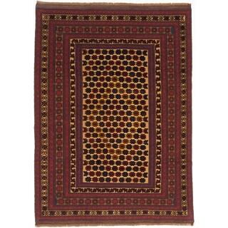 Ecarpet Gallery Tajik Tribal Beige, Red Wool Rug (6' x 9')