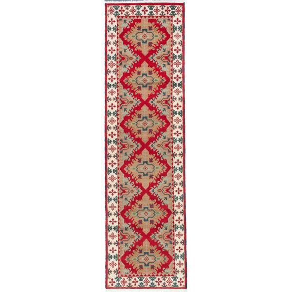 ecarpetgallery Royal Kazak Red Wool Rug - 2' x 9'