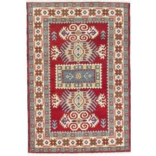 ecarpetgallery Royal Kazak Red Wool Rug (4' x 5')