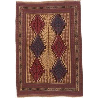 ecarpetgallery Tajik Tribal Brown, Red Wool Rug (6' x 9')