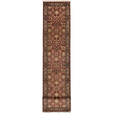 "ECARPETGALLERY Serapi Heritage Black, Red Wool Rug (2' x 16') - 2'7""x16'1"""