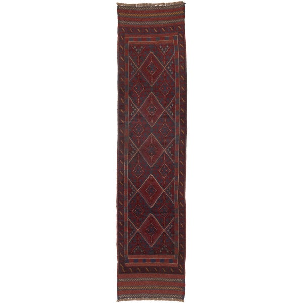 ecarpetgallery Tajik Caucasian Blue, Red Wool Rug (1' x 8')
