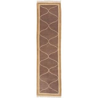 ecarpetgallery Opulence Brown Wool Rug (2' x 9')