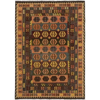 ecarpetgallery Sivas Brown, Green Wool Kilim (8' x 11')
