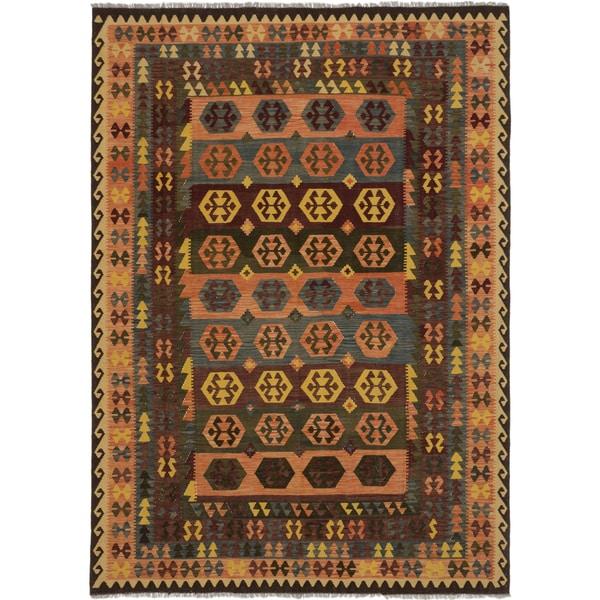 ecarpetgallery Sivas Brown, Green Wool Kilim (8' x 11')