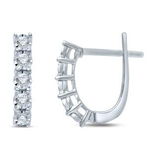 Unending Love Sterling Silver 1/10ct Diamond Fashion Hoop Earrings (IJ I2-I3)