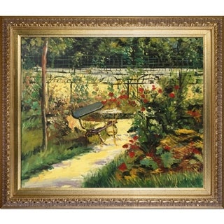 Edouard Manet 'The Bench' Hand Painted Framed Canvas Art