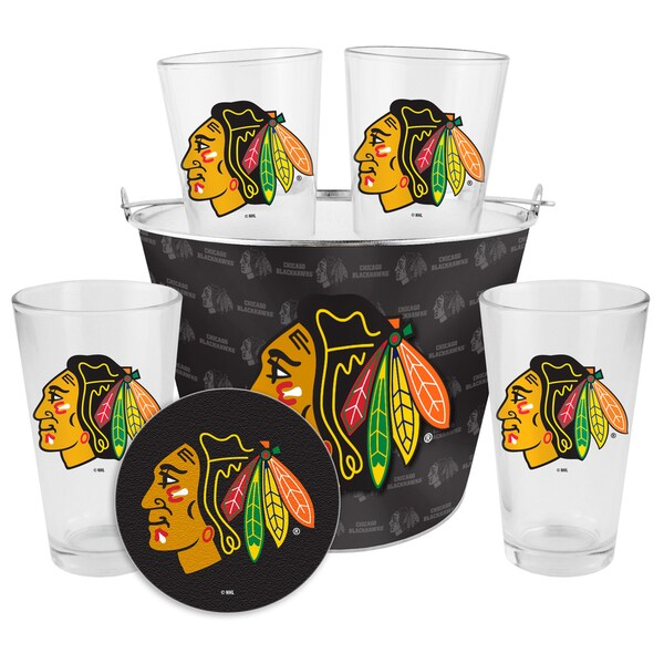 Chicago Blackhawks Glass Bucket and Pint Gift Set