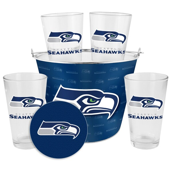 Seattle Seahawks Glass Bucket and Pint Gift Set