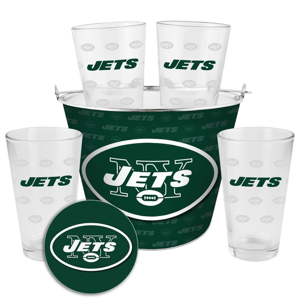 New York Jets Glass Bucket and Pint Gift Set