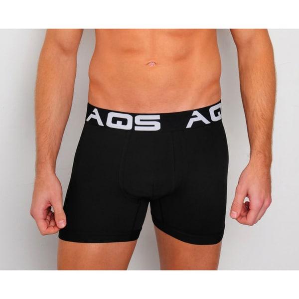 AQS Mens White/ Grey/ Black Boxer Briefs 3-Pack