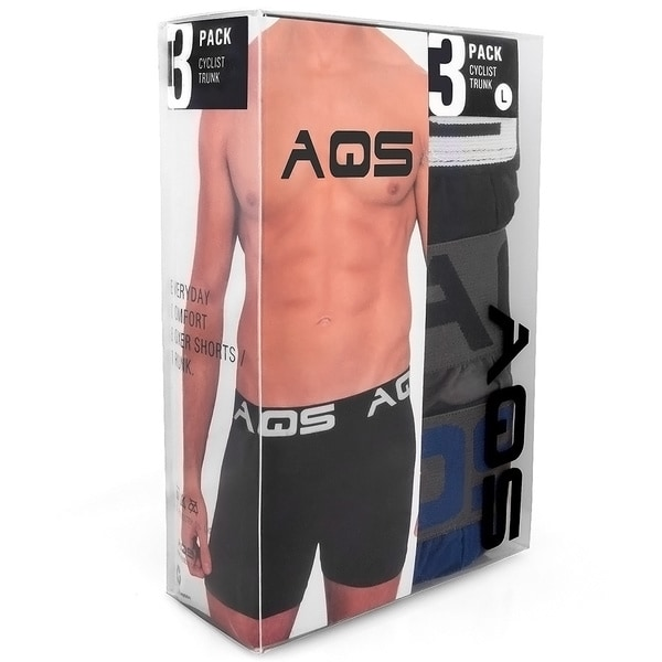 AQS Mens Black And Blue Boxer Briefs 3-Pack by  New