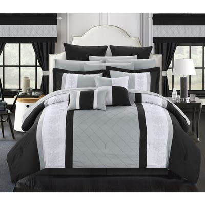 Porch & Den Isla Embroidered Black and Grey 24-piece Bed in a Bag with Sheet Set