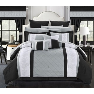 Chic Home Dylania Embroidered Black and Grey 24-piece Bed in a Bag with Sheet Set