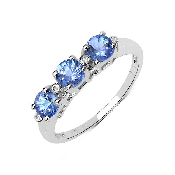 Carat Tanzanite: Shop Olivia Leone 0.71 Carat Genuine Tanzanite And White Diamond 10K White Gold Ring