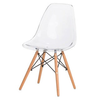 Clear Acrylic Side Chair with Oak Legs