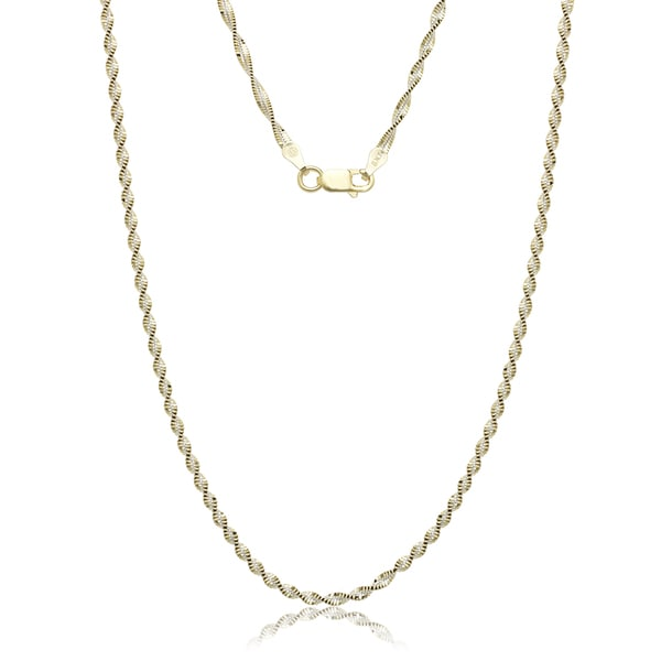 16 Inch Gold Herringbone Necklace: Shop Italian Sterling Silver Two-tone Goldplated Twisted