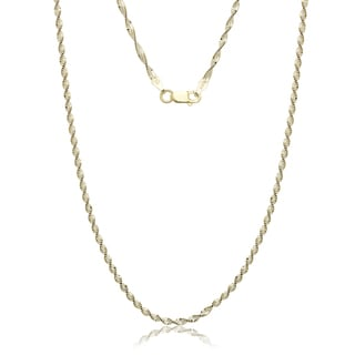 "Italian Sterling Silver Two-tone Goldplated Twisted Herringbone Chain Necklace (16-20"")"