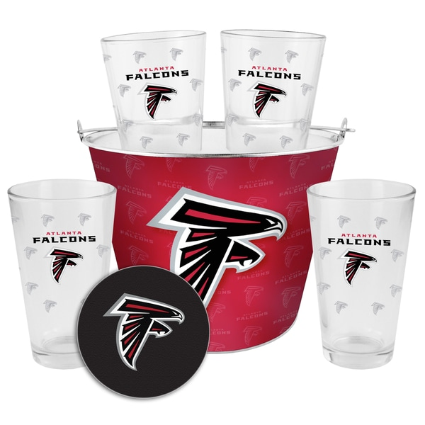 New Shop Atlanta Falcons Glass Bucket and Pint Gift Set Free Shipping  for cheap
