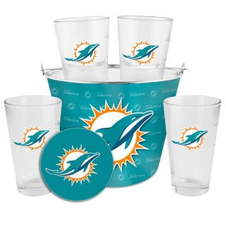 Miami Dolphins Glass Bucket and Pint Gift Set