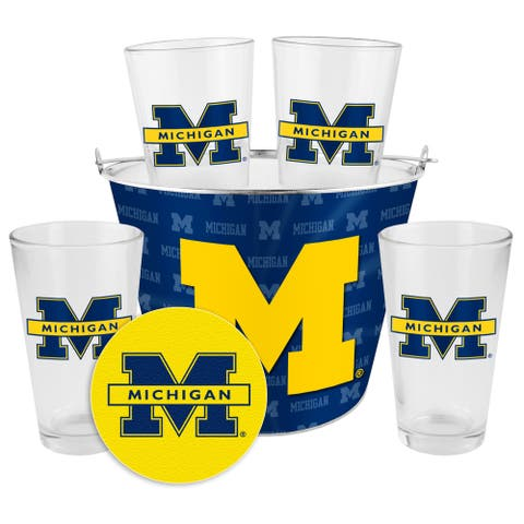 Michigan Wolverines Glass Bucket and Pint Gift Set