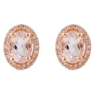 Rose Gold over Silver 1 1/2ct Morganite Studs Earring