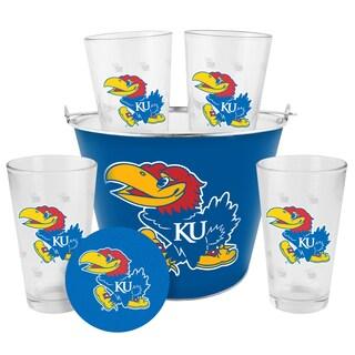 Kansas Jayhawks Glass Bucket and Pint Gift Set