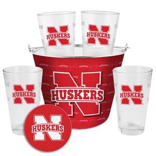 Nebraska Cornhuskers Glass Bucket and Pint Gift Set