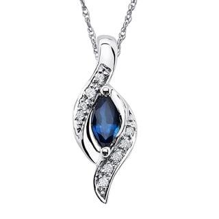 Boston Bay Diamonds 14k White Gold 3/8ct Sapphire & .04ct TDW Diamond Accent Bypass Pendant w/ Chain - Blue