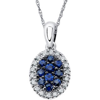 Boston Bay Diamonds 14k White Gold 1/2ct Sapphire & .09ct TDW Diamond Halo Oval Pendant w/ Chain - Blue