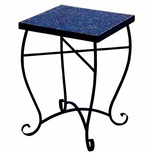 Moroccan Mosaic Blue Square Side Accent Table