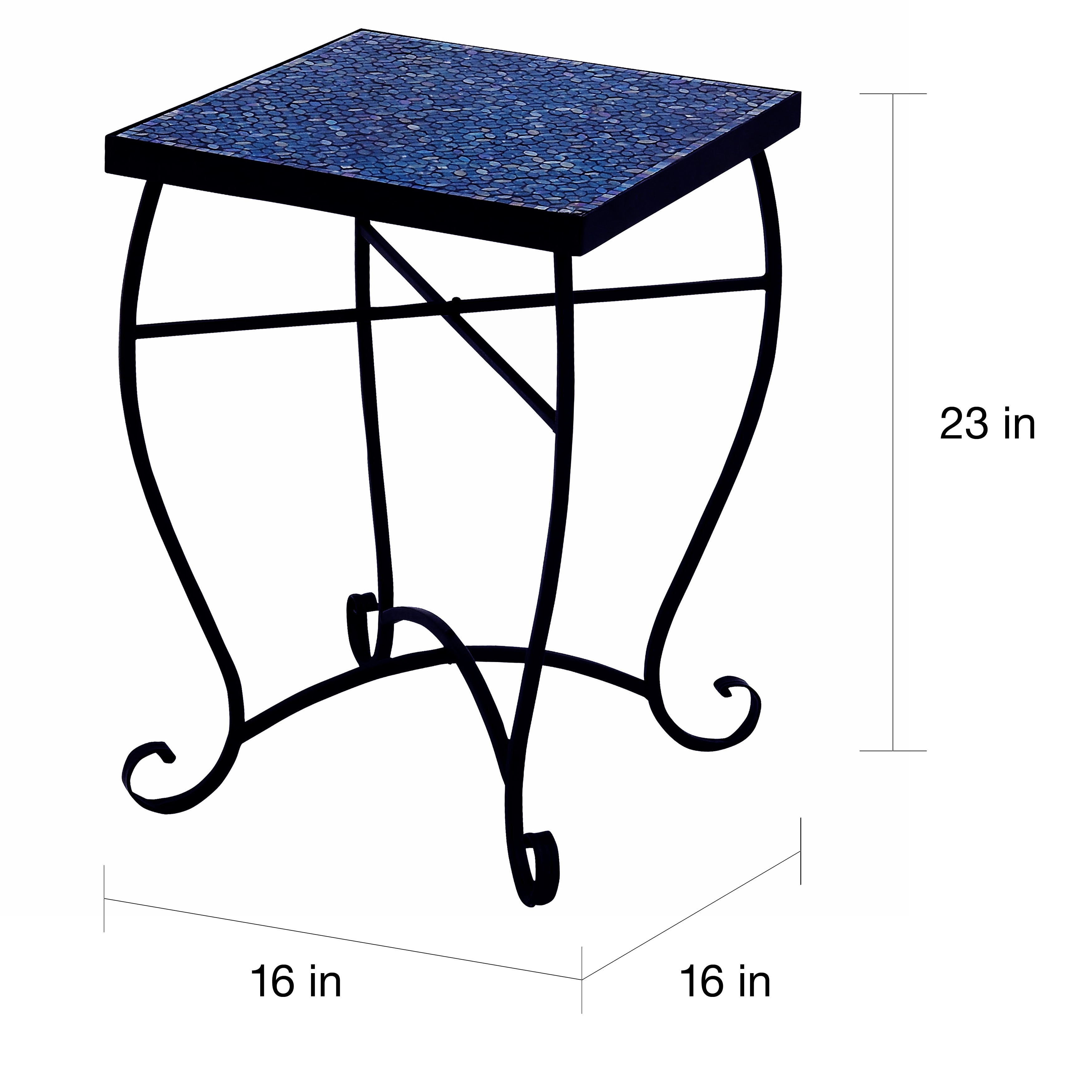 - Shop Moroccan Mosaic Blue Square Side Accent Table - Overstock