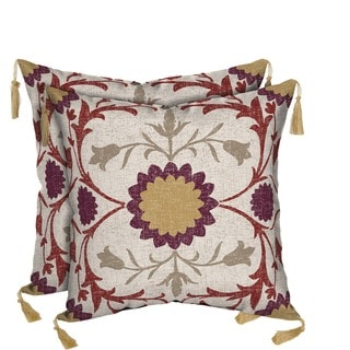 Bombay Outdoors Turkish Garden Square Toss Cushion Pillow with Tassels (Set of 2)