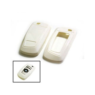 iJDMTOY Exact Fit White Gloss Metallic Key Fob Cover For BMW