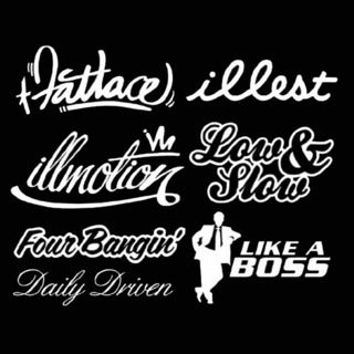iJDMTOY JDM Stance illmotion Low & Slow FourBangin Like A Boss Daily Driven Combo Deal Stickers Decals Set