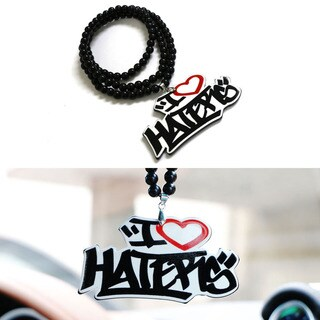 iJDMTOY JDM Dope I Love Haters Rearview Mirror Hanging Charm Dangling Beaded Pendant For Car Decoration