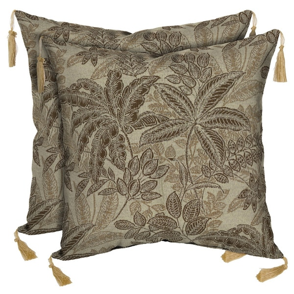 Bombay Outdoors Palmetto Mocha Reversible Square Toss Cushion Pillow with Tassels (Set of 2)