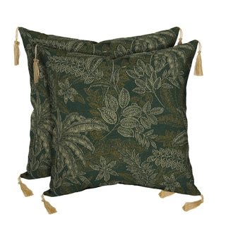 Bombay Outdoors Palmetto Green Reversible Square Toss Cushion Pillow with Tassels (Set of 2)