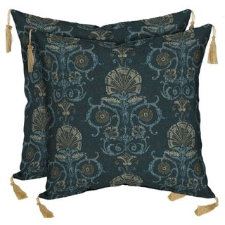 Bombay Outdoors Anatolia Blue Reversible Square Toss Cushion Pillow with Tassels (Set of 2)