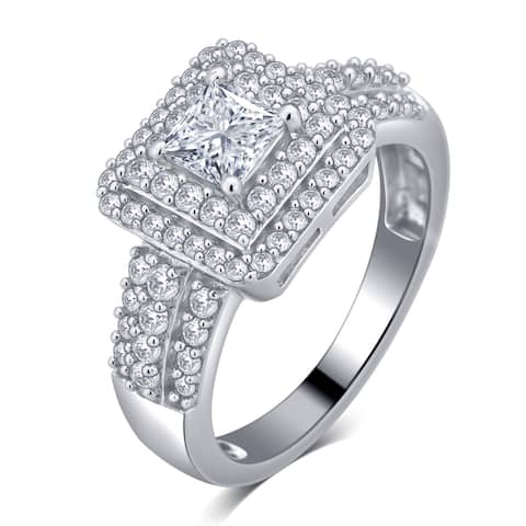Divina Sterling Silver 1 7/8ct White Sapphire Engagement Ring