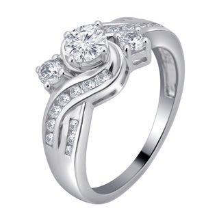 Divina Sterling Silver 1 1/3ct White Sapphire 3-stone Engagament Ring (More options available)