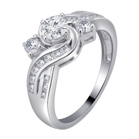 Divina Sterling Silver 1 1/3ct White Sapphire 3-stone Engagement Ring