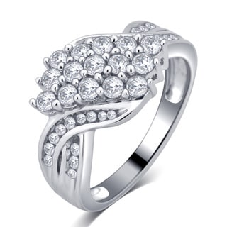 Divina Sterling Silver 1 1/5ct White Sapphire Ring