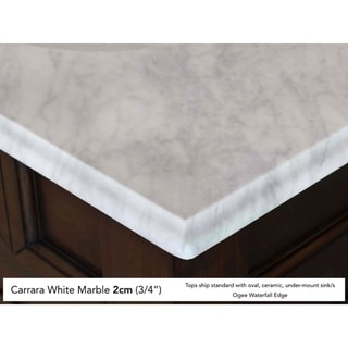 Brittany 60 Double Cabinet, Burnished Mahogany (2cm carrara white marble top - Oval - Freestanding - Assembly Required - 18 to 34 Inches - 60 x 23.5