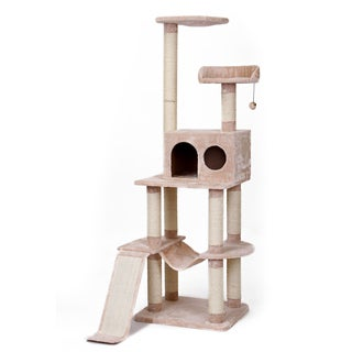 4-Level Vertical Cat Tower with Hide-away and Climbing Ramp