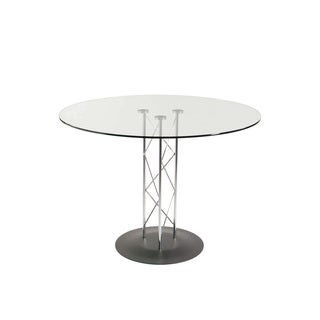 "Trave 36"" Dining Table - Clear Glass/Chrome Column/Black Base"