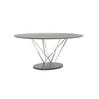 Stacy Oval Dining Table - Black/Ebony/Chrome